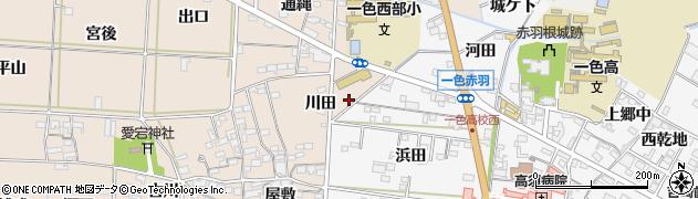 愛知県西尾市一色町治明(東川田)周辺の地図