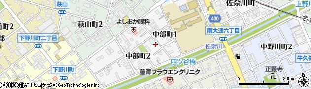 愛知県豊川市中部町周辺の地図