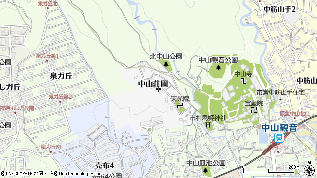 〒665-0868 兵庫県宝塚市中山荘園の地図