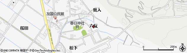 愛知県西尾市吉良町友国(六反)周辺の地図