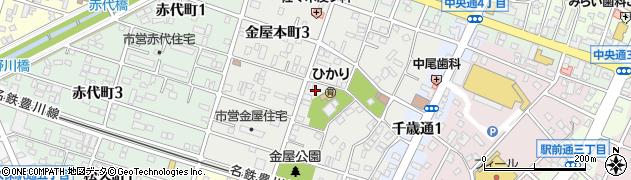 愛知県豊川市金屋本町周辺の地図