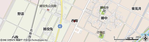 愛知県西尾市吉良町中野(西畑)周辺の地図