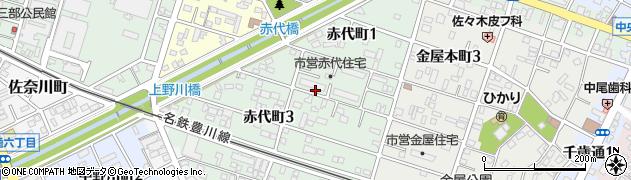 愛知県豊川市赤代町周辺の地図