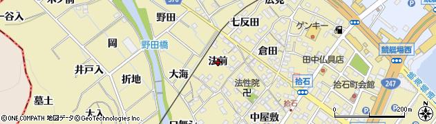愛知県蒲郡市拾石町(法前)周辺の地図
