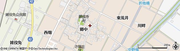 愛知県西尾市吉良町中野周辺の地図