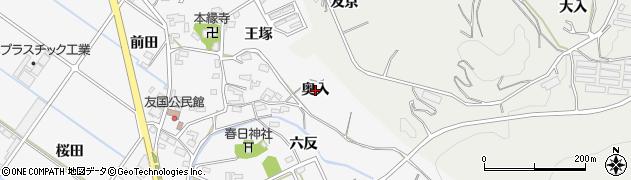 愛知県西尾市吉良町友国(奥入)周辺の地図
