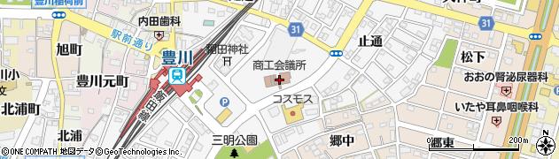 愛知県豊川市豊川町(辺通)周辺の地図