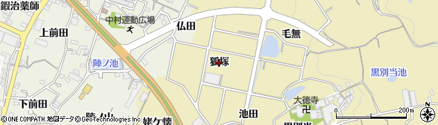 愛知県蒲郡市三谷町(狐塚)周辺の地図