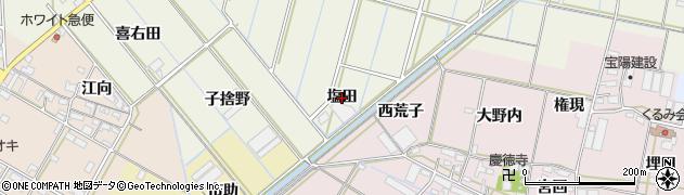 愛知県西尾市市子町(塩田)周辺の地図