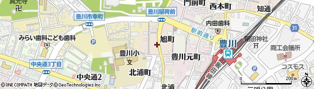愛知県豊川市旭町周辺の地図