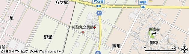 愛知県西尾市吉良町上横須賀(六石目)周辺の地図