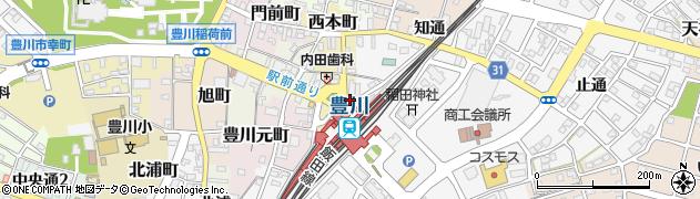愛知県豊川市西本町周辺の地図