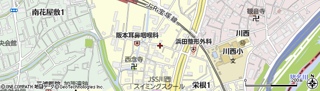 兵庫県川西市栄根周辺の地図