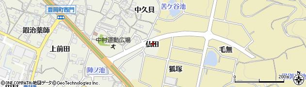 愛知県蒲郡市豊岡町(仏田)周辺の地図