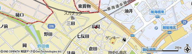 愛知県蒲郡市拾石町(広見)周辺の地図
