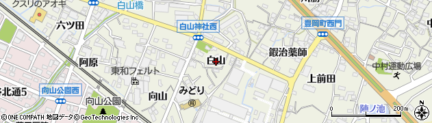 愛知県蒲郡市豊岡町(白山)周辺の地図
