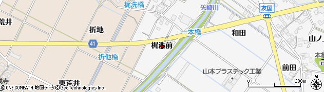 愛知県西尾市吉良町友国(梶洗前)周辺の地図