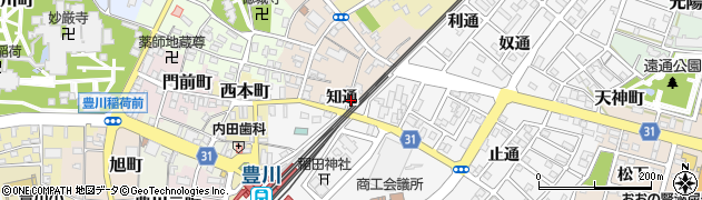 愛知県豊川市豊川町(知通)周辺の地図