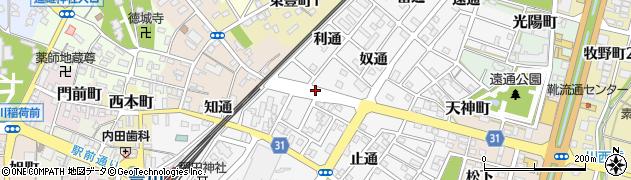 愛知県豊川市豊川町(利通)周辺の地図