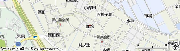 愛知県豊川市三上町(弥陀)周辺の地図