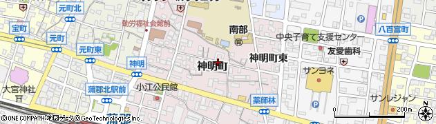 愛知県蒲郡市神明町周辺の地図