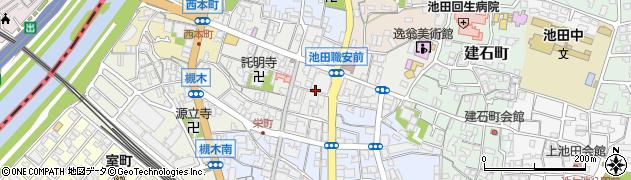 大阪府池田市栄本町周辺の地図