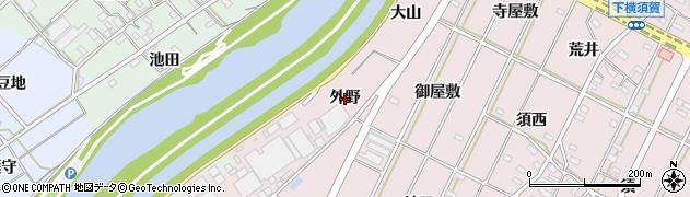 愛知県西尾市吉良町下横須賀(外野)周辺の地図