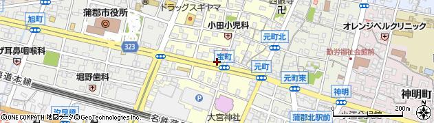愛知県蒲郡市宝町周辺の地図