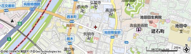 大阪府池田市栄本町8周辺の地図