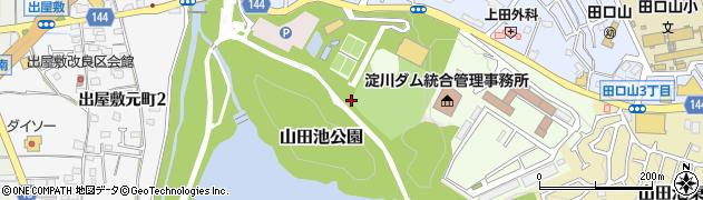 大阪府枚方市山田池北町周辺の地図