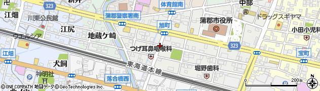 愛知県蒲郡市旭町周辺の地図