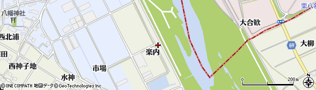愛知県豊川市三上町(楽内)周辺の地図