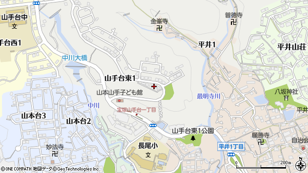 〒665-0887 兵庫県宝塚市山手台東の地図