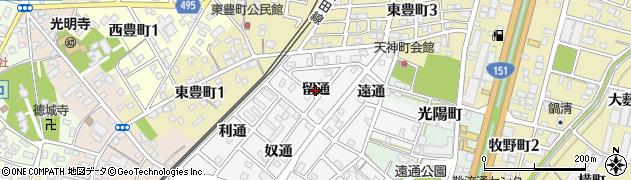 愛知県豊川市豊川町(留通)周辺の地図