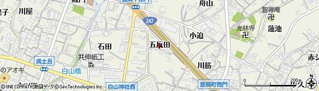 愛知県蒲郡市豊岡町(五反田)周辺の地図