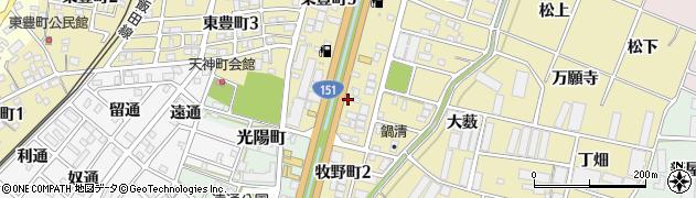 愛知県豊川市牧野町(野畔)周辺の地図