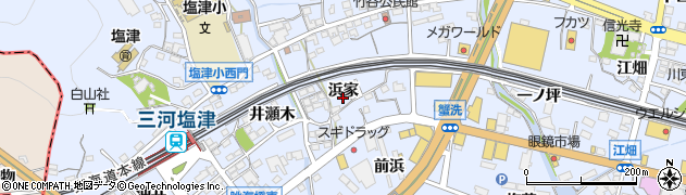 愛知県蒲郡市竹谷町(浜家)周辺の地図