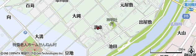 愛知県西尾市横手町(溝東)周辺の地図