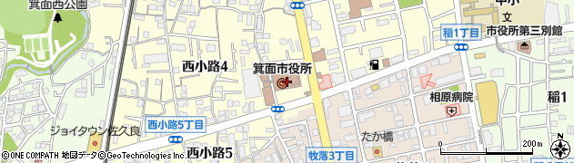 大阪府箕面市周辺の地図