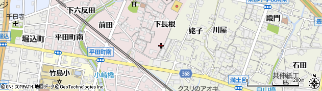 愛知県蒲郡市平田町(下長根)周辺の地図