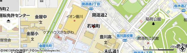 愛知県豊川市若鳩町周辺の地図