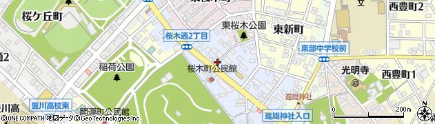 愛知県豊川市桜木通周辺の地図