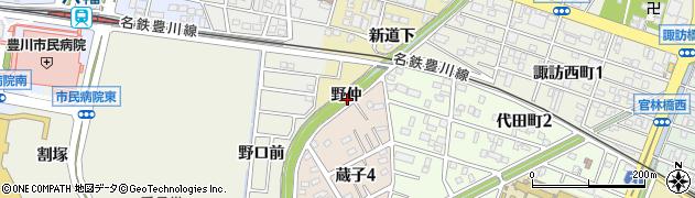 愛知県豊川市白鳥町(野仲)周辺の地図