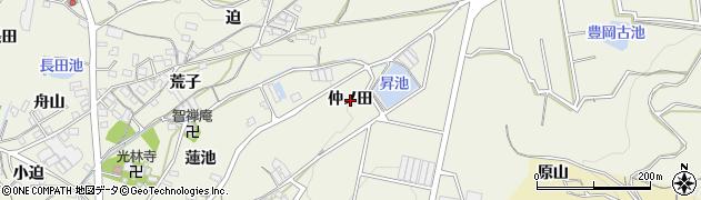 愛知県蒲郡市豊岡町(仲ノ田)周辺の地図