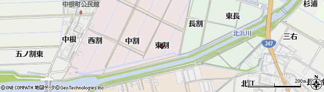 愛知県西尾市巨海町(東割)周辺の地図