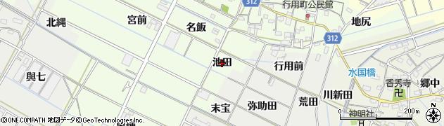 愛知県西尾市行用町(池田)周辺の地図
