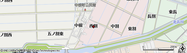 愛知県西尾市巨海町(西割)周辺の地図