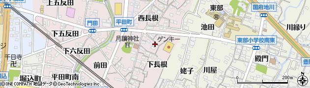 愛知県蒲郡市平田町(長根)周辺の地図