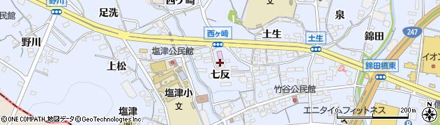 愛知県蒲郡市竹谷町(七反)周辺の地図