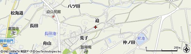 愛知県蒲郡市豊岡町(迫)周辺の地図